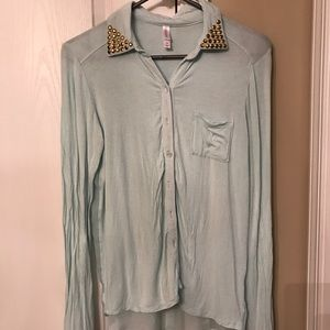 Mint green blouse with studded collar & sheer back